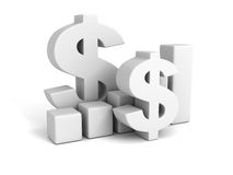 Business Successful Dollar Bar Graph. 3d Render Illustration Royalty Free Stock Photography
