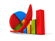 Business successful financial bar growth graph with rising arrow. 3d render illustration Royalty Free Stock Image