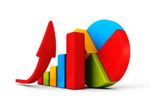 Business successful financial bar growth graph with rising arrow. 3d render illustration Stock Photo