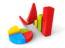 Business successful financial bar growth graph with rising arrow Royalty Free Stock Images