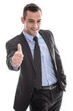 Business: successful man in suit with thumbs up - isolated on w. Business: successful man in suit with thumbs up and hand in pocket isolated on white background royalty free stock image