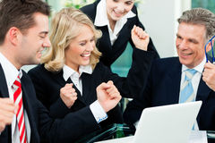 Business - successful meeting in an office. Business - colleagues have a successful meeting in an office stock images