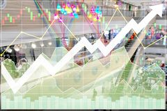 Business successful stock index sector in shopping department st. Ore growth rate for investment and financial economy shown by chart and graph Royalty Free Stock Image