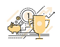 Business Successful and victory concept. Flat line icons. vector illustration Royalty Free Stock Images