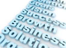 Business sucess related words. Success business growth vision 3d text Stock Photography
