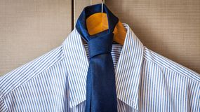 Business suit ready for travel. Italian fashion - business shirt, classical dresscode, ready for a business trip Stock Photo