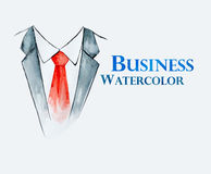 Business suit with tie. Watercolor painting of business suit with  tie Royalty Free Stock Photo