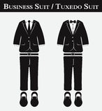 Business suit and Tuxedo suit ( vintage style , flat design ) vector illustration
