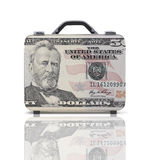 Business suitcase for travel with reflection and 50 dollars note Stock Photo