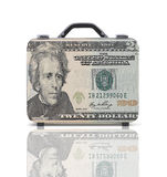 Business suitcase for travel with reflection and 20 dollars note Stock Photos