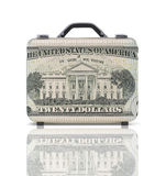 Business suitcase for travel with reflection and 20 dollars note Royalty Free Stock Images