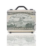Business suitcase for travel with reflection and 50 dollars note Stock Photography