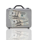 Business suitcase for travel with reflection and four 20 dollars Stock Images
