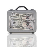Business suitcase for travel with reflection and three 50 dollar Stock Images