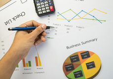 Business summary or Business plan report with Charts and graphs in Business concept Stock Photos