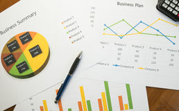 Business summary or Business plan report with Charts and graphs in Business concept Royalty Free Stock Images