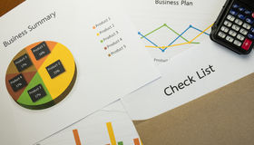 Business summary or Business plan report with Charts and graphs in Business concept Stock Photography