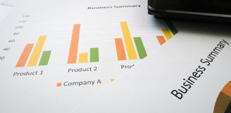 Business summary or Business plan report with Charts and graphs in Business concept Stock Image