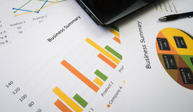 Business summary or Business plan report with Charts and graphs in Business concept Royalty Free Stock Photo