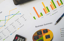 Business summary or Business plan report with Charts and graphs in Business concept Stock Photo
