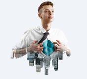 Business super hero double exposure Stock Images