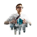 Business super hero double exposure Royalty Free Stock Photography