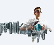 Business super hero double exposure Royalty Free Stock Image