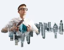 Business super hero double exposure Stock Photos
