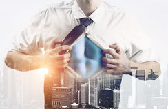 Business super hero double exposure Stock Image