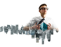 Business super hero double exposure Royalty Free Stock Photos