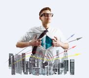 Business super hero double exposure Royalty Free Stock Photo