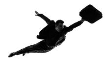 Business super man flying silhouette Stock Photography