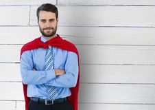 Business Superhero against wood Stock Photos