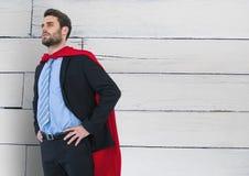 Business Superhero against wood Stock Photography