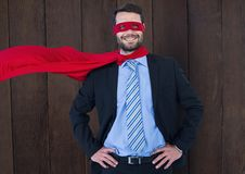 Business Superhero against wood Royalty Free Stock Photos