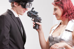 Business superhero love and hate Royalty Free Stock Photos