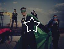 Business Superheroes Beach Achievement Concept Stock Image