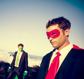 Business superheroes on the beach Confidence Concept.  royalty free stock photography