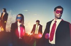 Business superheroes on the beach confident concept Stock Photos