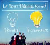 Business Superheroes at City Skyline Royalty Free Stock Photography