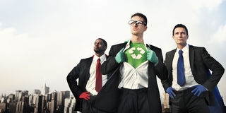Business Superheroes at City Skyline Stock Photos