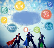 Business Superheroes at City Skyline Royalty Free Stock Images
