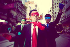 Business Superheroes Hong Kong City Concept Stock Images