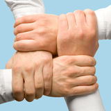 Business support. Photo of business people�s hands touching each other stock photos