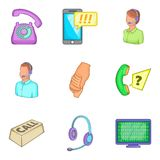 Business support icons set, cartoon style Royalty Free Stock Images