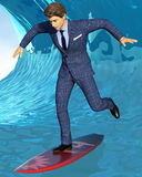 Business surfing. Young handsome businessman single-leg balancing on surfing board with his arms extended. 3d illustration Royalty Free Stock Images
