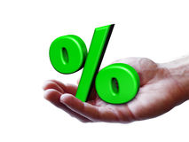 Business Symbol Percentage Concept. Business and percentage symbol concept with a green percent sign and an open hand for sale, discount, reduction, promo and Stock Photography