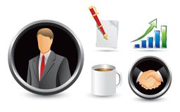 Business symbols. Businessman, pen and paper, growth chart, handshake, and cup of coffee on white backdrop Stock Photo