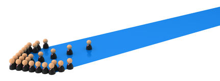 Business Symbols, Blue Streak Arrow. Crowd of small symbolic 3d figures, over white Stock Photography
