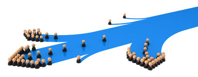Business Symbols, Blue Streak Branch. Crowd of small symbolic 3d figures, over white Royalty Free Stock Photo